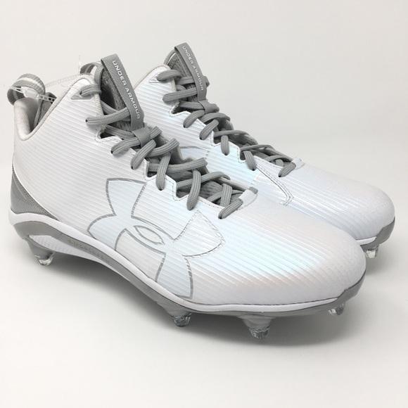 Under Armour Men/'s Fierce D Football Cleats 11.5 //12.5 White Silver 1269739-103